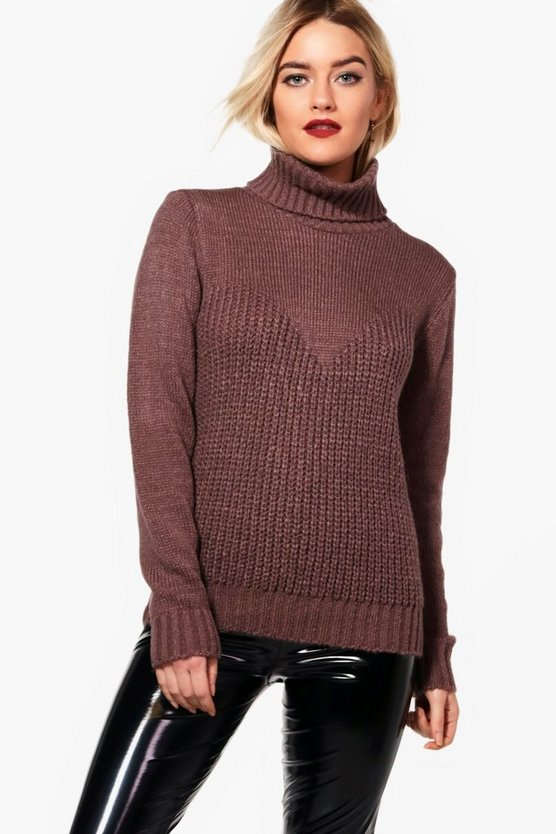 Kerry Contrast Stitch Roll Neck Oversized Jumper