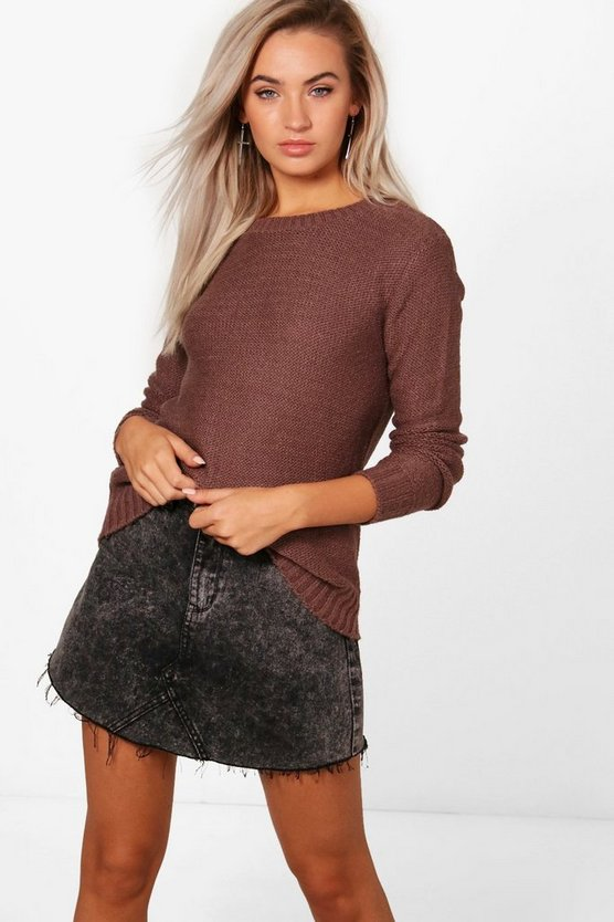 Oversized Rib Cuff Soft Knit Jumper