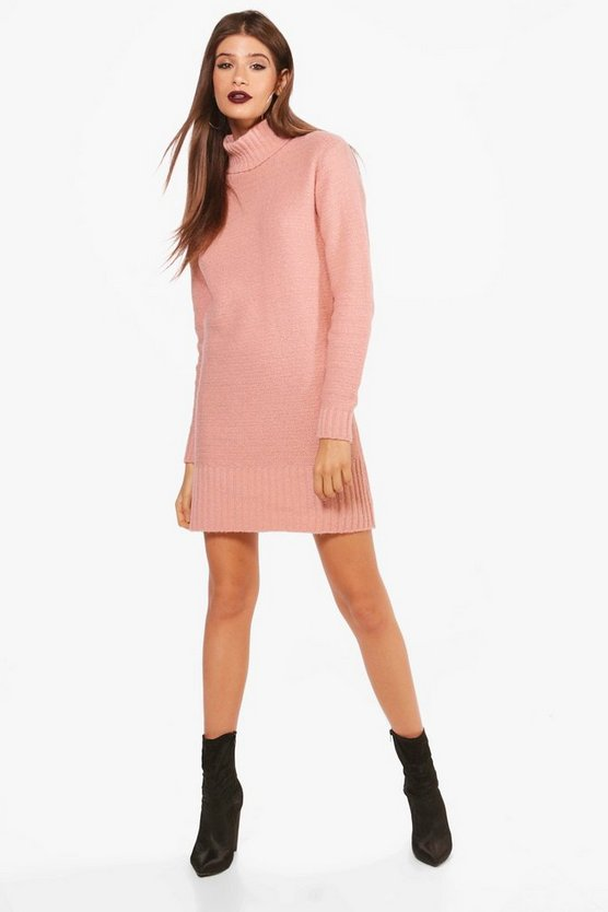 Womens Blush Roll Neck Mini Sweater Dress
