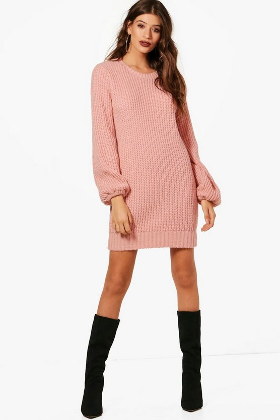 Rib Detail Blouson Sleeve Jumper Dress