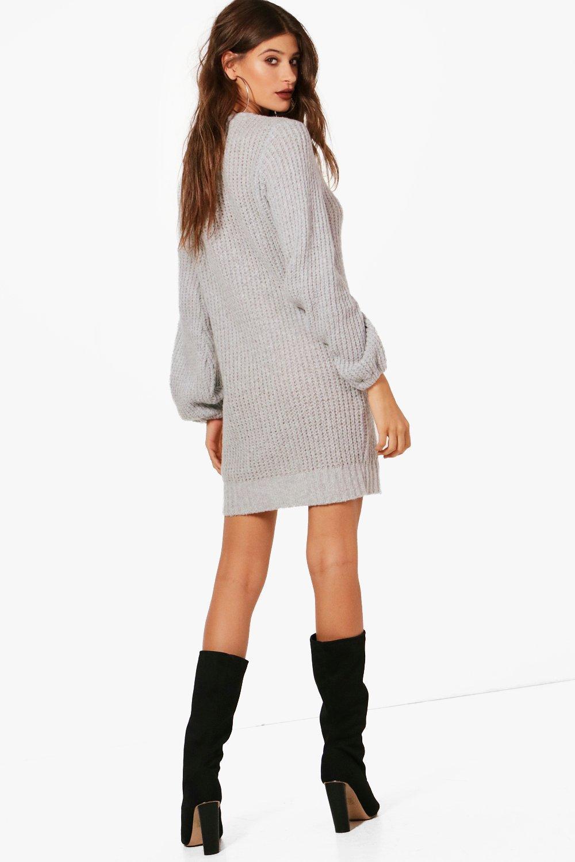 Jumper Sleeve blush Dress Detail Rib Blouson wPxtt8