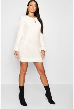Womens Ecru Rib Detail Blouson Sleeve Jumper Dress