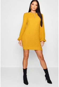 Womens Mustard Rib Detail Blouson Sleeve Jumper Dress