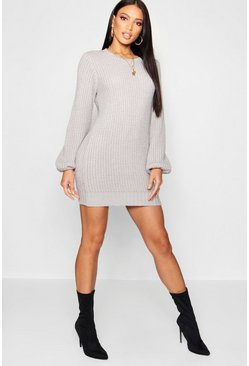 Womens Silver Rib Detail Blouson Sleeve Jumper Dress