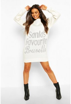 Cream Santa's Favourite Brunette Christmas Jumper Dress