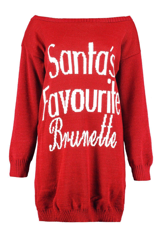 Christmas Santa's Favourite Santa's red Brunette Favourite wqUBY0v0