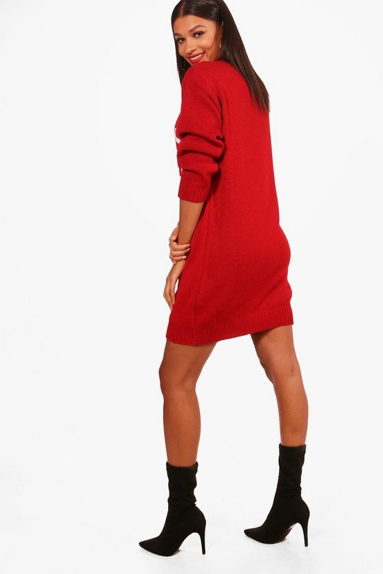 Santa's Favourite Brunette Christmas Jumper Dress