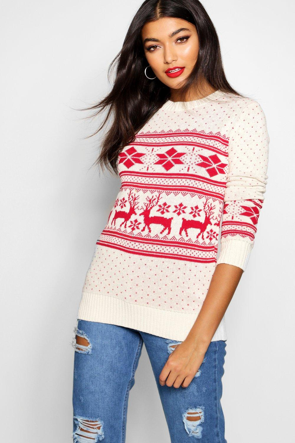 1940s Style Sweaters and Knit Tops Reindeer Fairisle Christmas Jumper  AT vintagedancer.com
