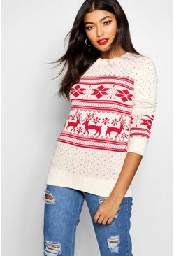Womens Cream Reindeer Fairisle Christmas Sweater