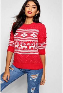 Red Fairisle Snowflake Reindeer Christmas Jumper