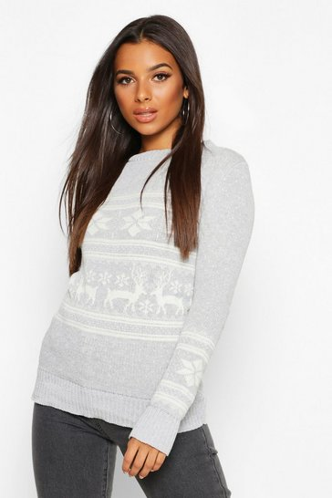 Womens Silver Reindeer Fairisle Christmas Jumper