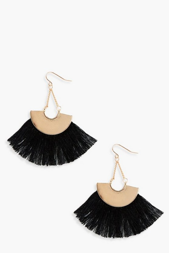Plate Fringed Tassel Earrings