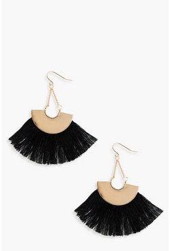 Womens Black Plate Fringed Tassel Earrings