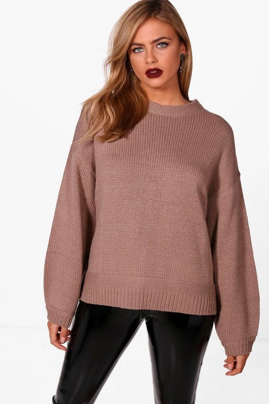 Balloon Sleeve Drop Shoulder Jumper