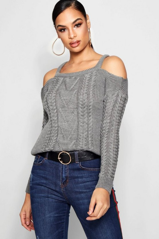 Slash Detail Cable Knit Jumper