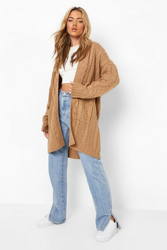 Womens Camel Slouchy Cable Knit Cardigan