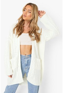 Womens Cream Slouchy Cable Knit Cardigan
