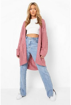 Womens Rose Slouchy Cable Knit Cardigan