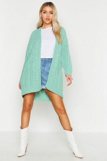 Womens Sage Slouchy Cable Knit Cardigan