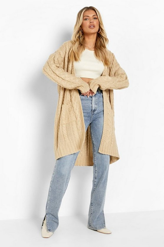 Womens Stone Slouchy Cable Knit Cardigan