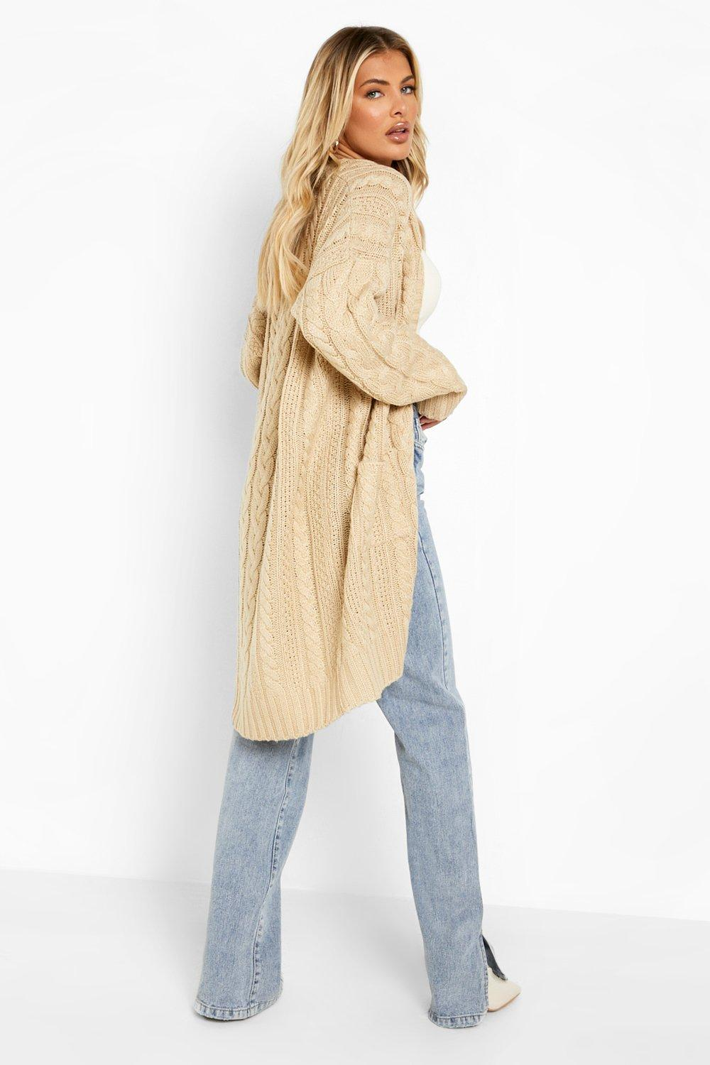 Boohoo Womens Slouchy Cable Knit Cardigan  734aad1cf