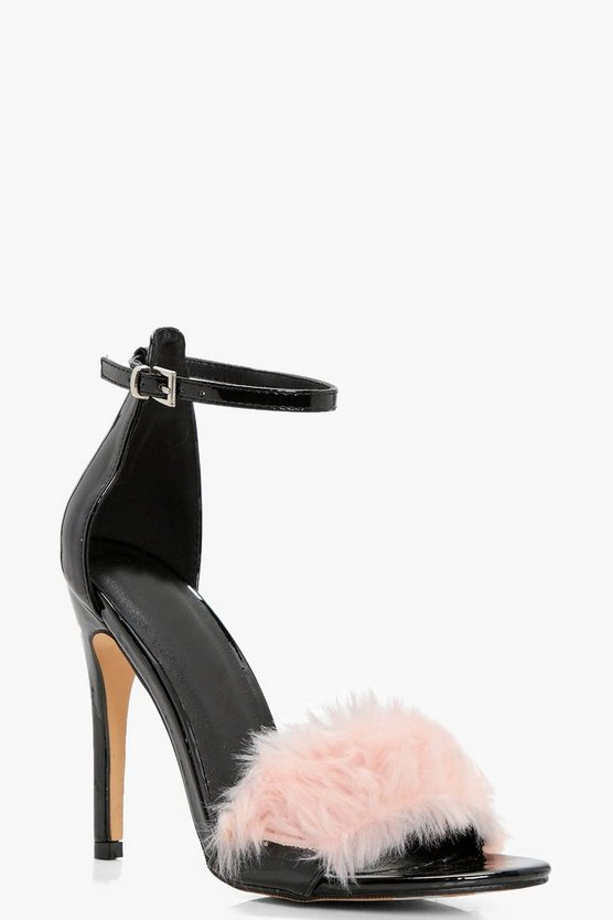 Ashley Patent Faux Fur Trim 2 Part Heels