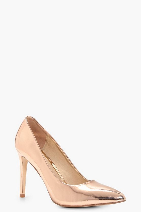 Leah Metallic Pointed Toe Court Shoes