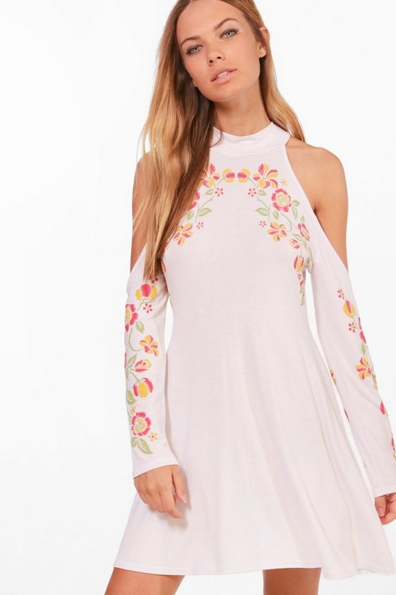 Cold Shoulder Printed Floral Smock Dress