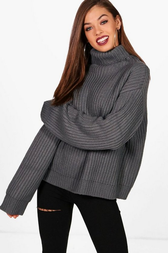 Womens Charcoal Hollie Roll Neck Oversized Jumper