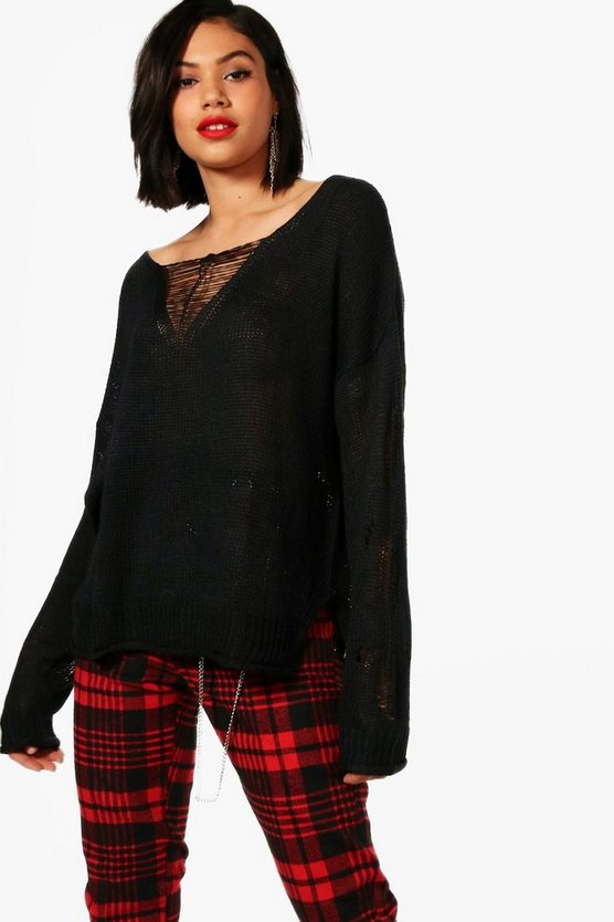 Emily Slouchy Distressed Jumper