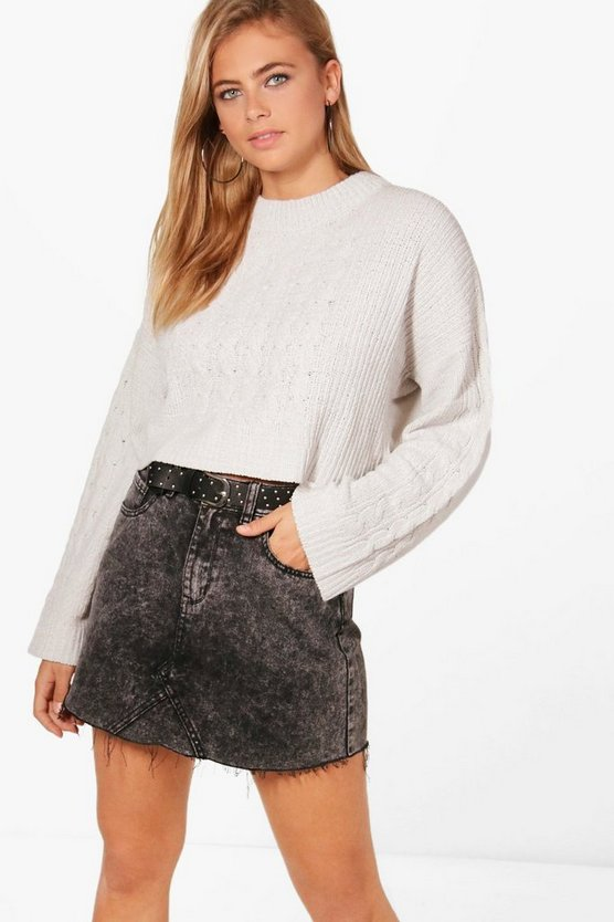 Silvia Cable Knit Crop Chenille Jumper