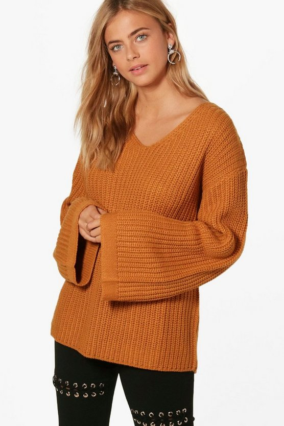 Grace Wide Sleeve V Neck Jumper