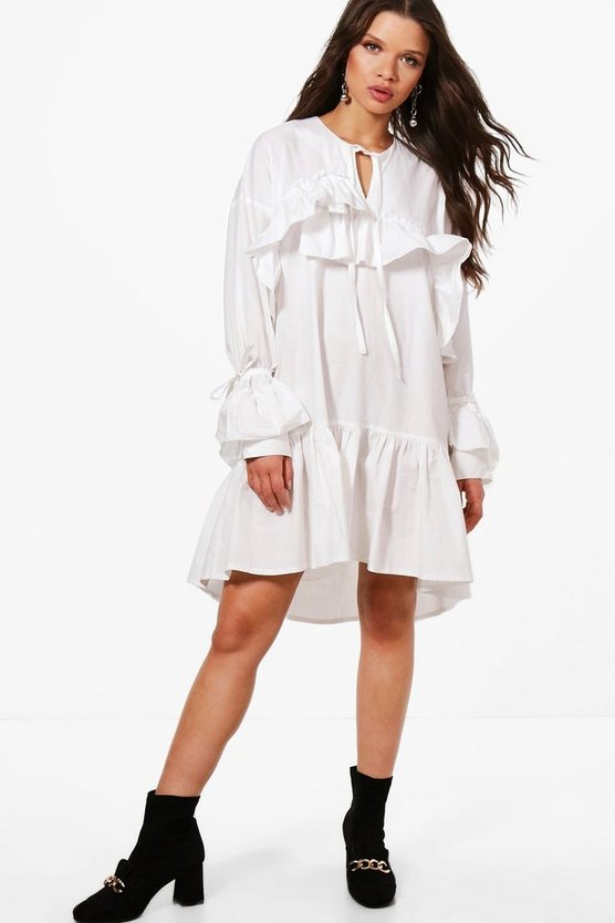 Hannah Longline Ruffle Tie Neck Tunic Dress