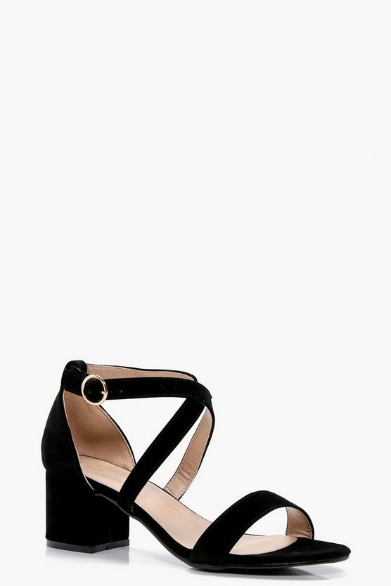 Evie Cross Strap Low Block Heels