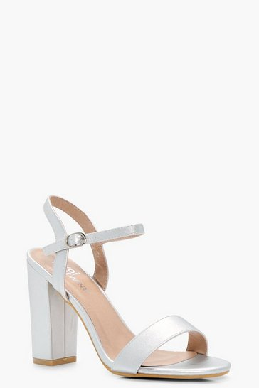 Womens Silver Block Heel Barely There Heels