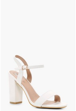 Womens White Block Heel Barely There Heels