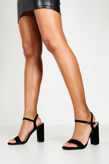 Womens Black Block Heel Barely There Heels