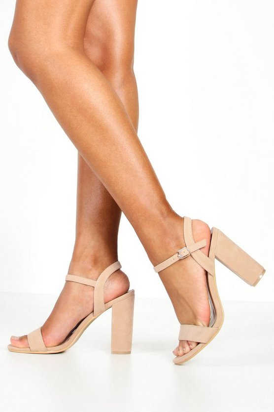 Womens Nude Block Heel Barely There Heels