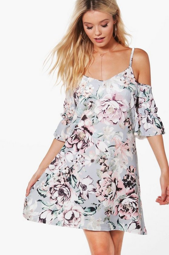 Floral Cold Shoulder Ruffle Shift Dress