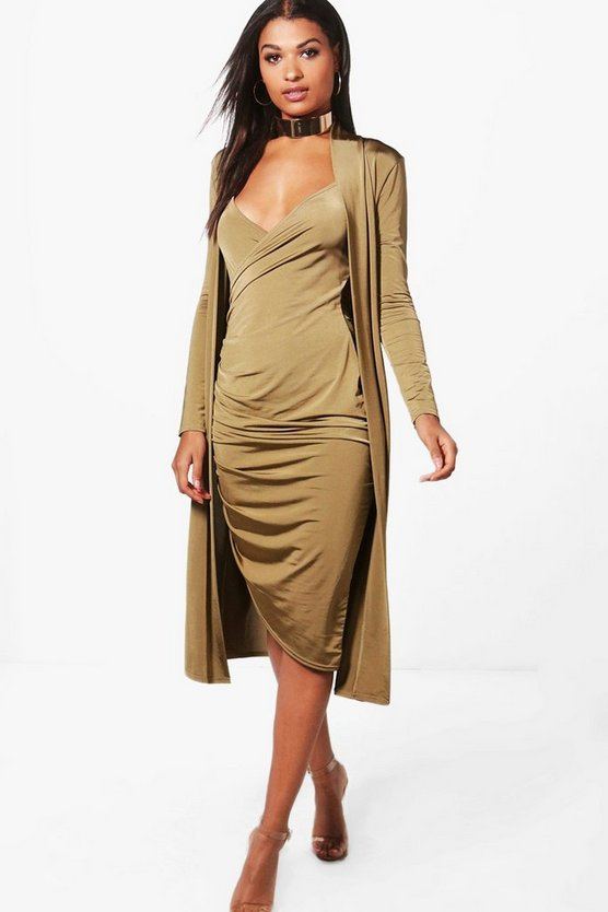 Wrap Midi Dress & Duster Co-ord Set