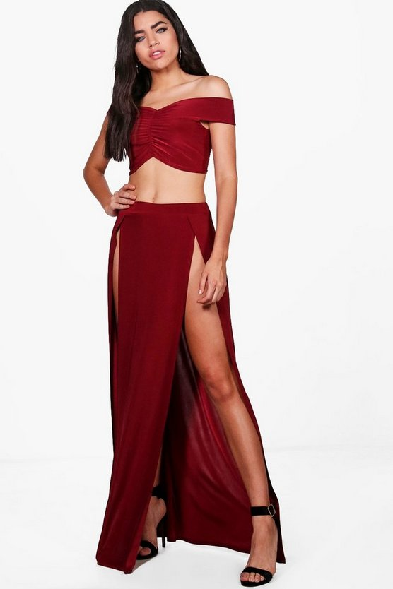 Sandy Crop & Split Maxi Skirt Co-ord Set