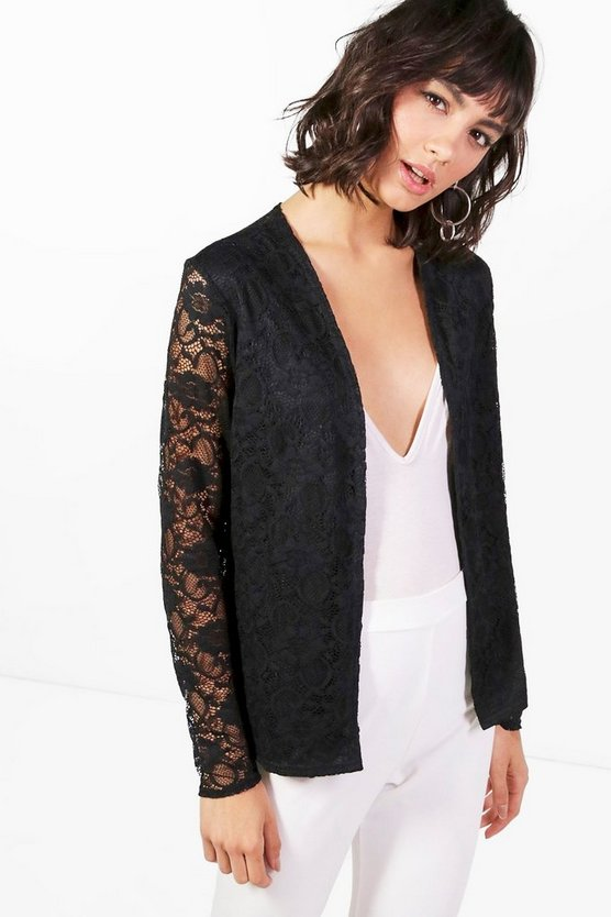 Black Fiona Lace Edge To Edge Blazer