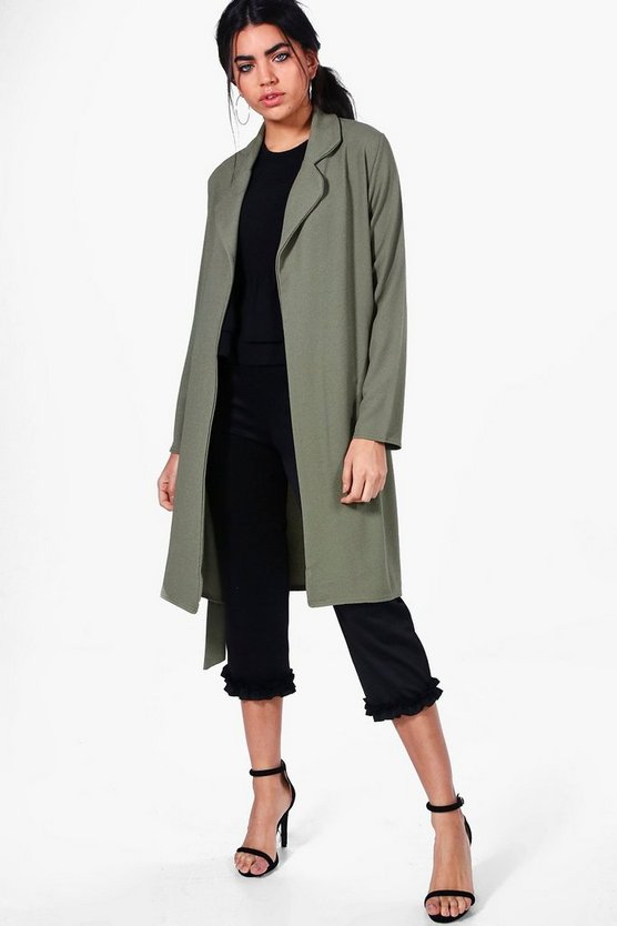 Womens Khaki Alex Rounded Collar Belted Duster