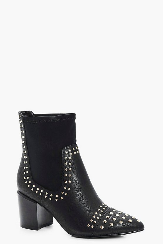 Gold Stud Trim Pointed Toe Sock Boots