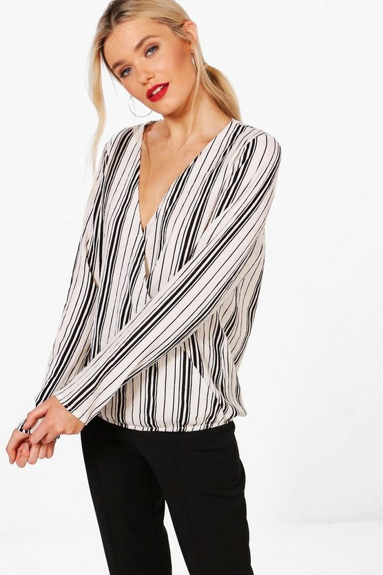 Womens Black Hannah Stripe Wrap Front Shirt