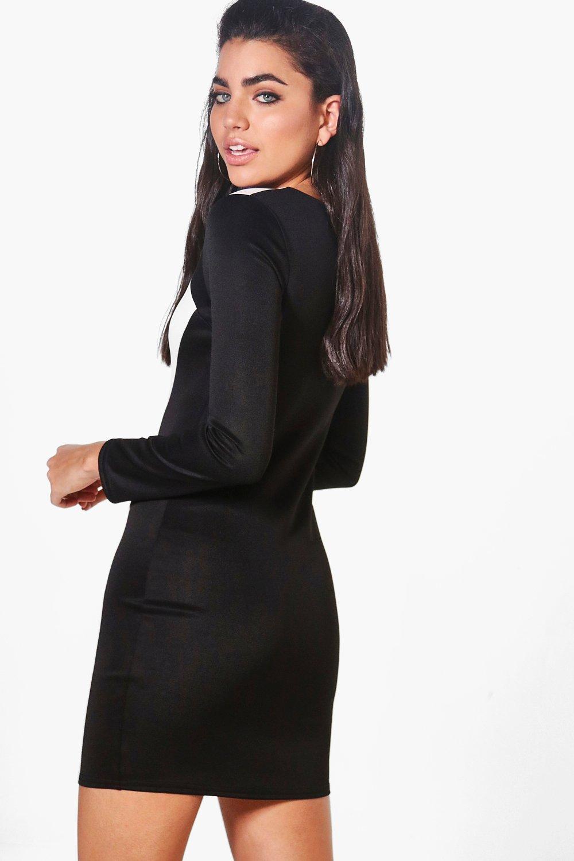 boohoo damen rebecca elegant geschnittenes kleid in. Black Bedroom Furniture Sets. Home Design Ideas