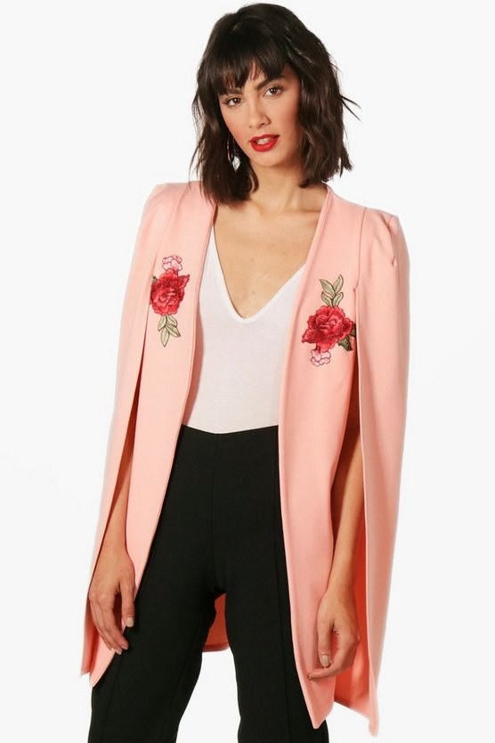 Georgina Embroidered Longline Tailored Crepe Cape