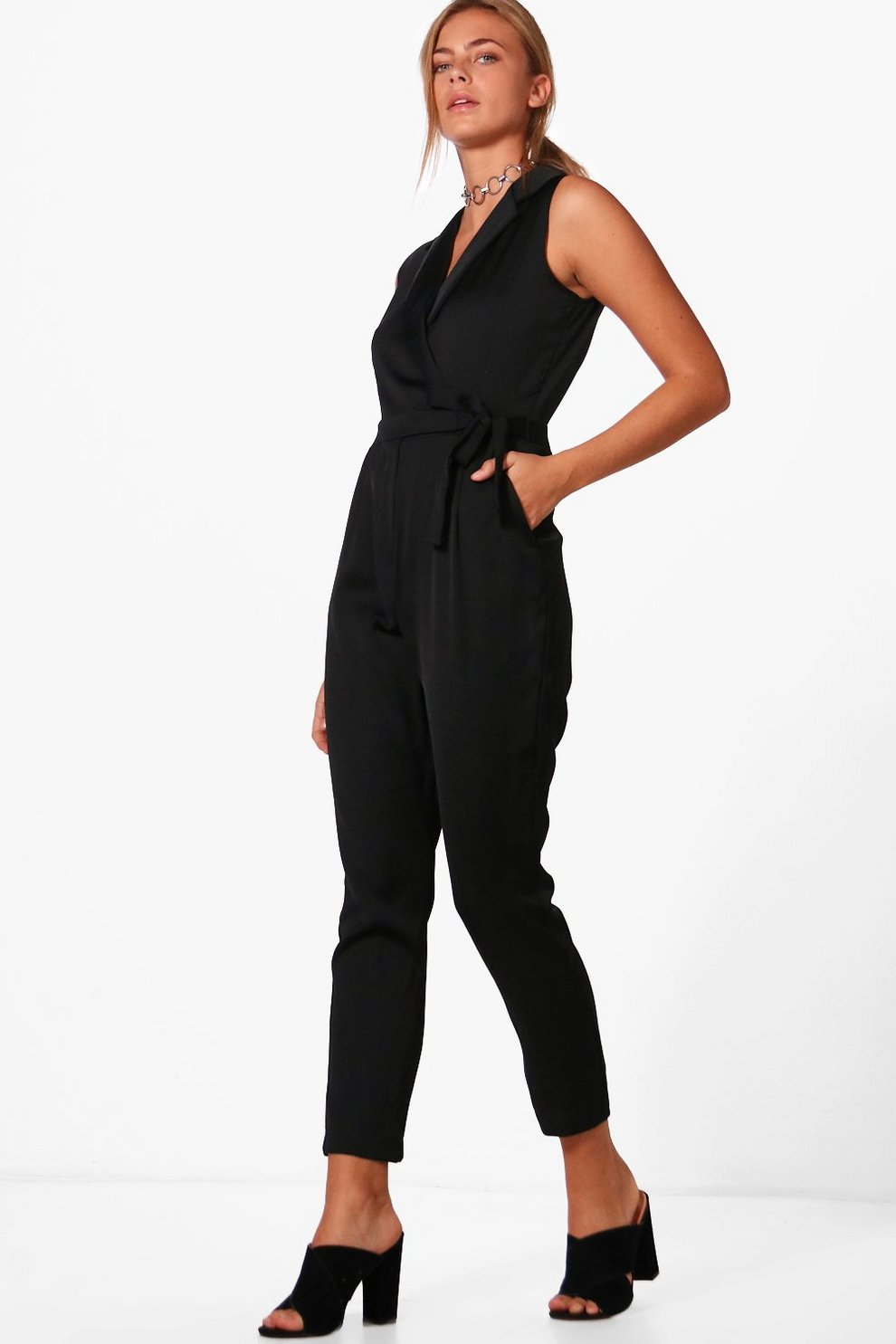 f26c052aeb17 Ella Premium Satin Tailored Sleeveless Jumpsuit