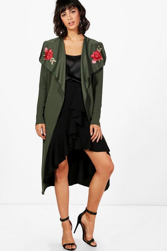 Womens Khaki Millie Shawl Collar Belted Embroidered Duster