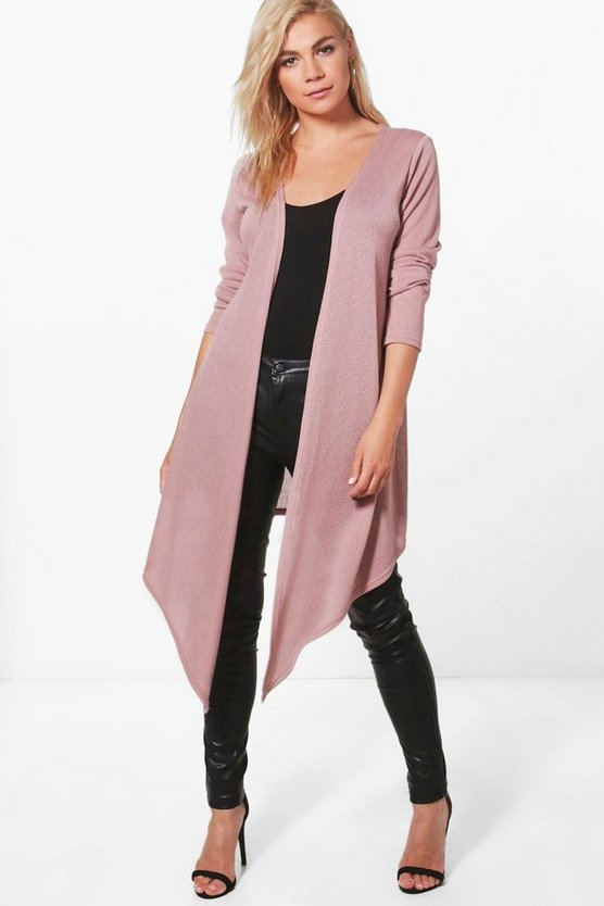 Becca Soft Knit Midi Waterfall Cardigan